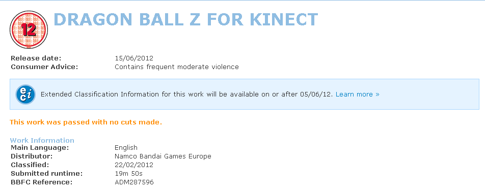 Un Dragon Ball Z Kinect?