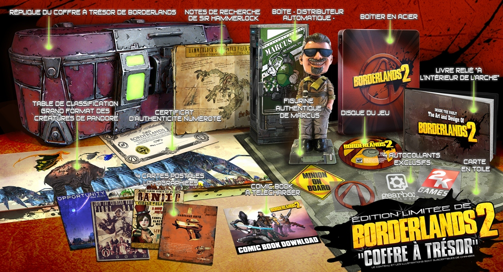 2K Games Borderlands 2 Edition Limitee de Borderlands 2 Coffre a tresor Borderlands 2: Les éditions collectors  collector borderlands 2