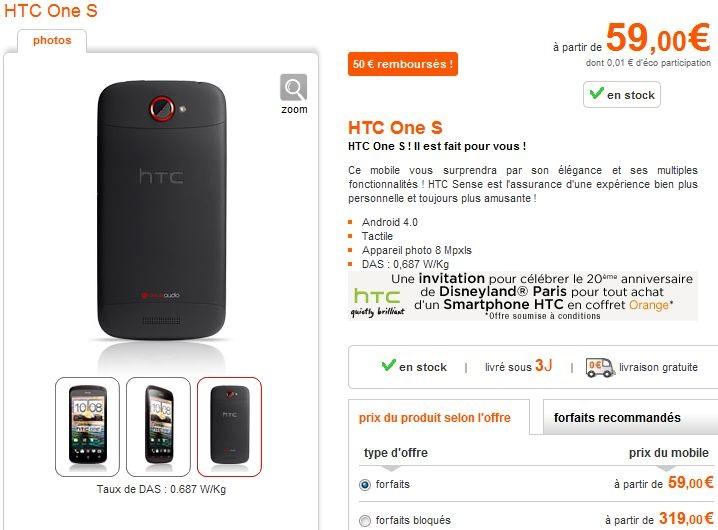 HTC-One-S-Orange Orange: Pour l'achat d'un HTC un pass Disney offert