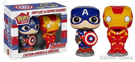 Salière-Captain-America-Iron-Man Geek : Les mugs et salières Funko Avengers