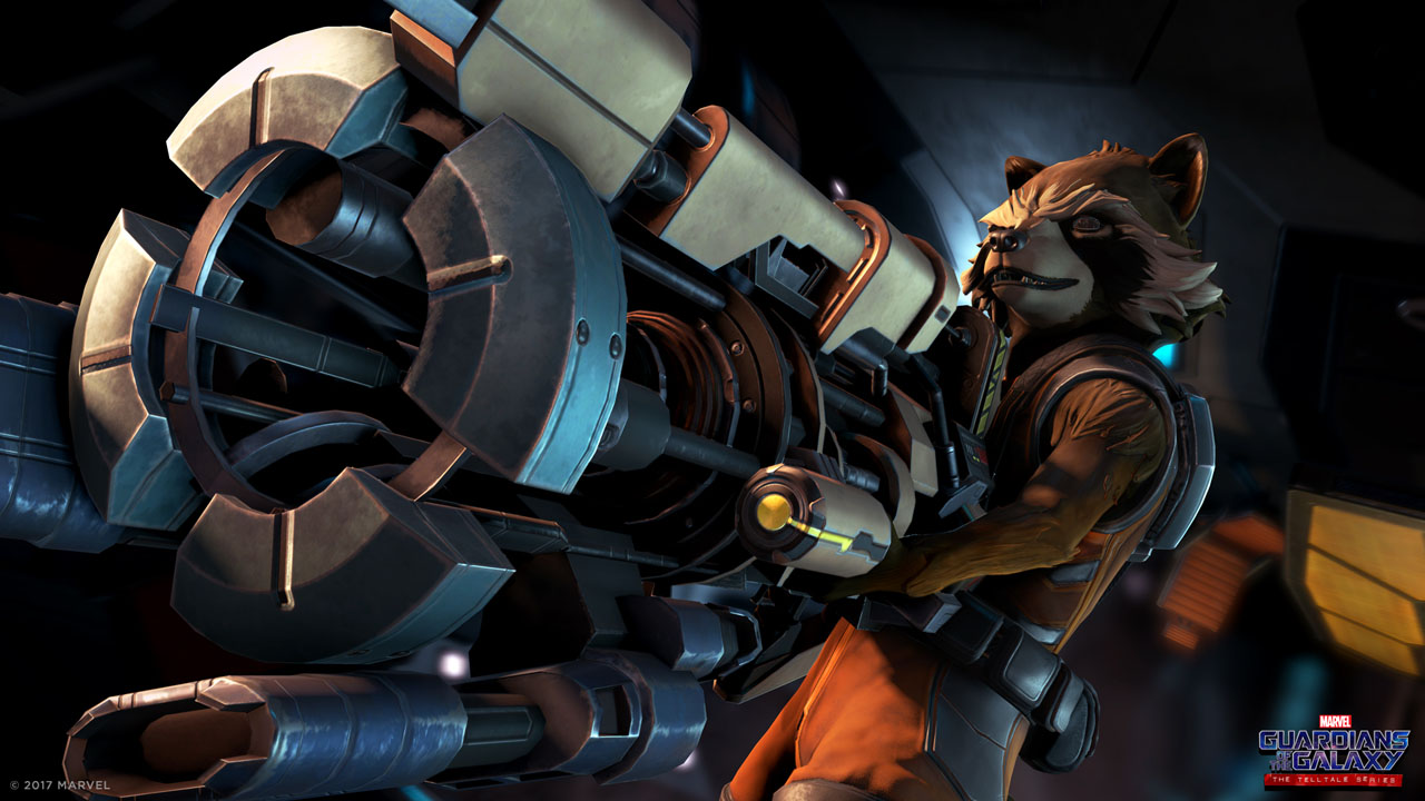 gotg_rocket_with_gun_1920x1080 Test - Guardians of the Galaxy : The Telltale Series – Ep 1 : Au fond du Gouffre - PS4
