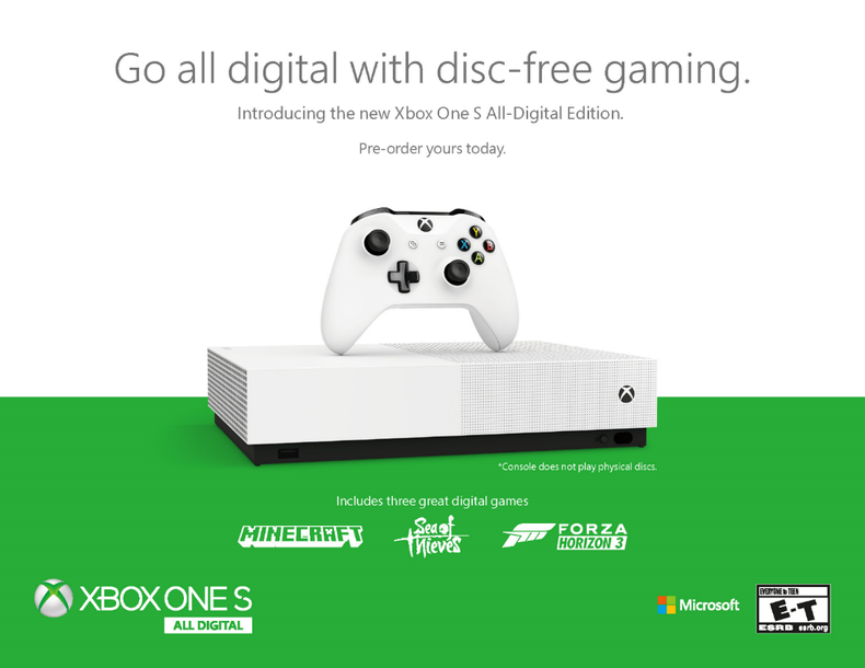 xboxonesalldigital-f514e Précommande -  Xbox One S All-Digital