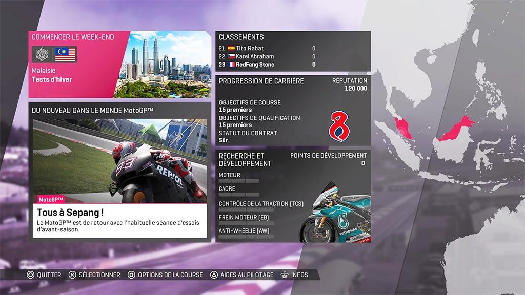 MotoGPCarriereMenu Mon avis sur Moto GP 19 - Faisons brûler la gomme !