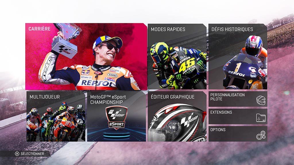 MotoGPMenu-1024x576 Mon avis sur Moto GP 19 - Faisons brûler la gomme !