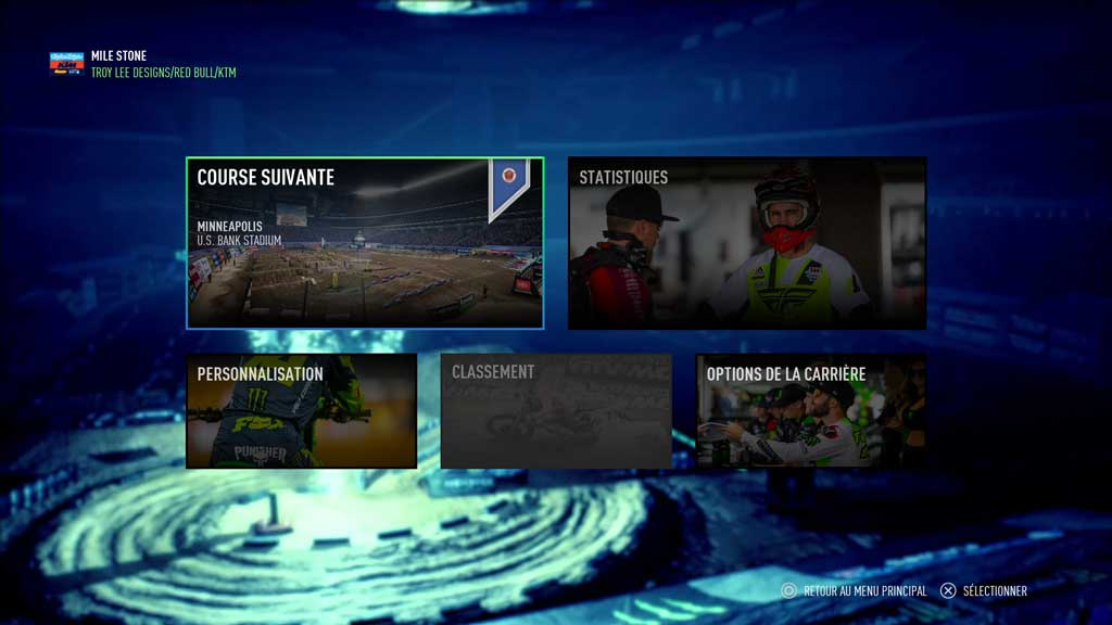 Menu_carriere Mon avis sur Monster Energy Supercross 3 - Attention à la chute !