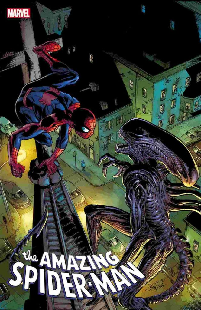marvelvsalienamazingspiderman56markbagley1242004-665x1024 Marvel - Premier aperçu du crossover entre les Avengers et Alien