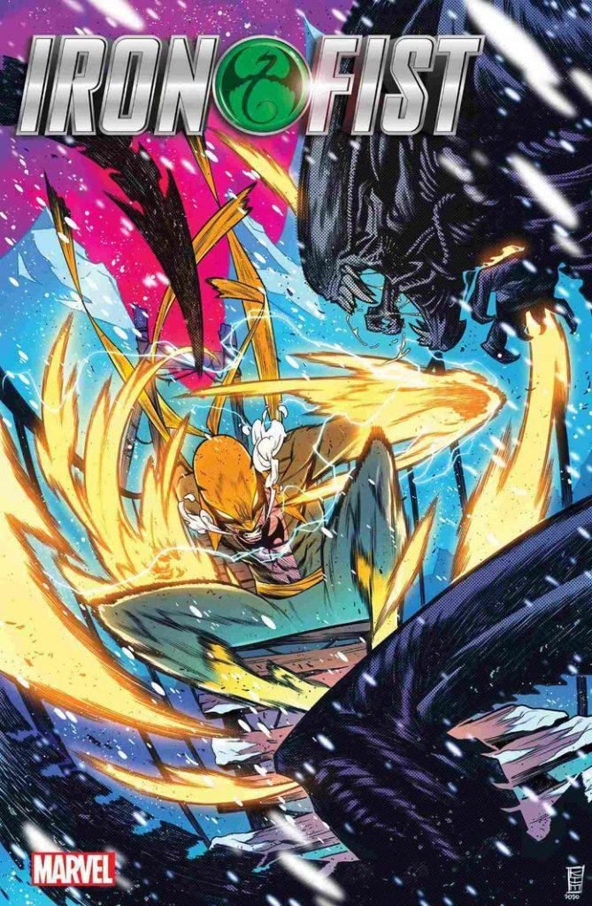 marvelvsalienironfistheartofthedragon1kimjacinto1242014-669x1024 Marvel - Premier aperçu du crossover entre les Avengers et Alien