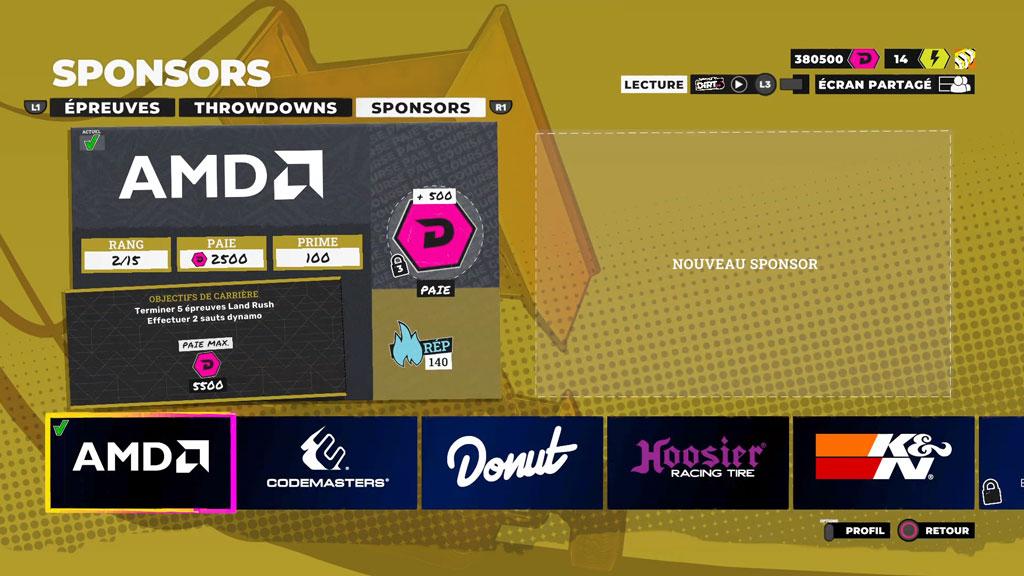 Dirt5_Menu_Carriere_sponsor Mon avis sur Dirt 5 - Un jeu résolument arcade !
