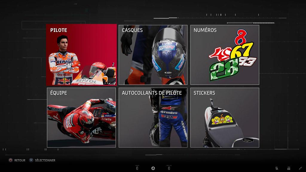 MotoGP21_Menu_Personalisation Mon avis sur MotoGP 21 - Version 1.5 ?